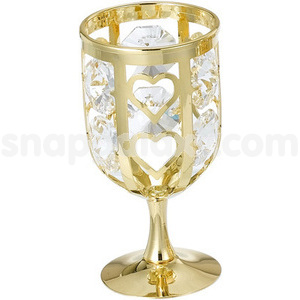 wine glass gold plated with swarovski crystals