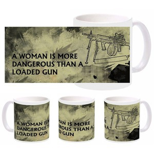 woman gun mug