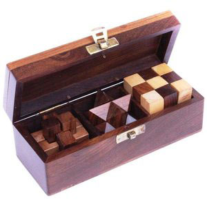 wooden puzzles set of 3 games
