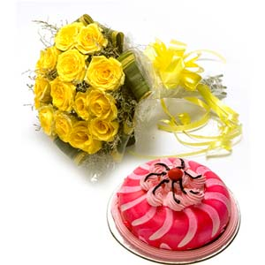 yellow roses with cake spread fragrance midnight